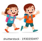 cute kid boy and girl holding...   Shutterstock .eps vector #1930350497
