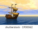 old ship in golden sunlight | Shutterstock . vector #1930362