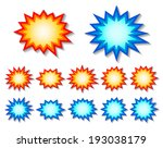 set of red and blue starburst... | Shutterstock .eps vector #193038179