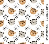 cute leopard and tiger faces.... | Shutterstock .eps vector #1930381841