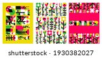 vector set of abstract floral... | Shutterstock .eps vector #1930382027