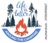 happy camper. bonfire in the... | Shutterstock .eps vector #1930390067