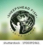 Vintage sheepshead fish emblem on blur background. Vector illustration.