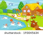 woody farm with animals playing ... | Shutterstock . vector #193045634