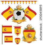 set of spain football supporter ... | Shutterstock .eps vector #193045895