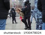 Small photo of Moscow, Russia, january 23 2021: Police detain long protesters. A rally for the release of the illegally detained Alexei Navalny.