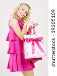 elegant blonde girl with pink... | Shutterstock . vector #19305109