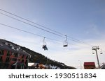 Chairlifts In A Winter Resort....