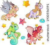cute magic ponies  set of... | Shutterstock .eps vector #1930556591