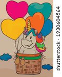 unicorn with balloons flying in ... | Shutterstock .eps vector #1930604564