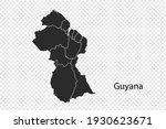 guyana map vector  black color. ...   Shutterstock .eps vector #1930623671