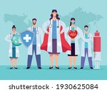 doctors staff group with shield ... | Shutterstock .eps vector #1930625084