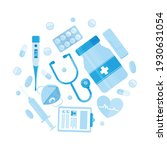 medical items arranged in a... | Shutterstock .eps vector #1930631054