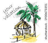 sketch drawing palm tree and...   Shutterstock .eps vector #1930673351