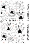 set of easter characters. cute... | Shutterstock .eps vector #1930687637