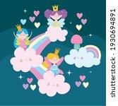 fairy cute rainbows clouds... | Shutterstock .eps vector #1930694891