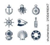 nautical anchor wheel lifebuoy...   Shutterstock .eps vector #1930698047