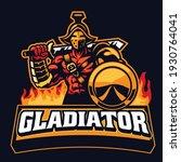 gladiator mascot hold the shield | Shutterstock .eps vector #1930764041