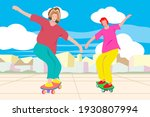 Two People Play Surf Skate On...