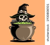 skeleton witch preparing a... | Shutterstock .eps vector #1930808501
