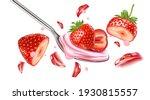 strawberry yogurt splashing... | Shutterstock .eps vector #1930815557