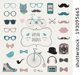 Cute Hipster Colorful Retro Vintage Doodle Icon Set. Vector Illustration