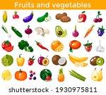 set of fresh healthy vegetables ... | Shutterstock .eps vector #1930975811