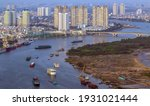 Ho Chi Minh City. Aerial view Saigon River with ships scene cityscape skyline, Vietnam. Panoramic modern architecture Skyscrapers  landscape