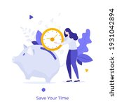 woman putting clock like coin... | Shutterstock .eps vector #1931042894