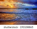 warm ocean beach sunrise with... | Shutterstock . vector #193108865