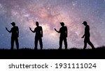 a silhouette of a man using a...   Shutterstock . vector #1931111024