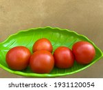 Fresh Tomato In A Leaf Plate