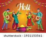 happy holi festival. indian... | Shutterstock .eps vector #1931153561