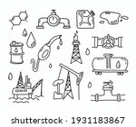 gas and oil doodle set. petrol... | Shutterstock .eps vector #1931183867