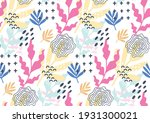 hand drawn floral memphis... | Shutterstock .eps vector #1931300021