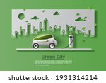 electric car with ev charger... | Shutterstock .eps vector #1931314214