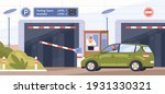car at parking entrance with... | Shutterstock .eps vector #1931330321