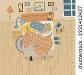 a mess in bedroom. top view...   Shutterstock .eps vector #1931412437