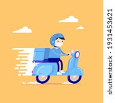 food delivery man riding a blue ...   Shutterstock .eps vector #1931453621