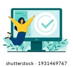 happy woman and desktop with... | Shutterstock .eps vector #1931469767