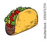 illustration of delicious taco. ...   Shutterstock .eps vector #1931471774