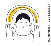 happy man holding a rainbow in... | Shutterstock .eps vector #1931533817