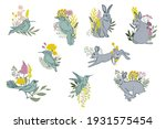 collection of rabbit and birds... | Shutterstock .eps vector #1931575454