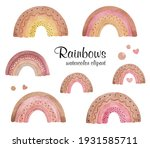 watercolor rainbows clipart ...   Shutterstock . vector #1931585711