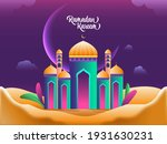 glossy mosque illustration with ... | Shutterstock .eps vector #1931630231