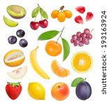 berries and fruits on white...   Shutterstock . vector #193163924