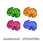 8 bit pixel multicolored... | Shutterstock .eps vector #1931655581