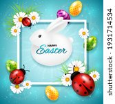 easter greeting card with frame ...   Shutterstock .eps vector #1931714534