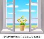 open window in interior  view... | Shutterstock .eps vector #1931775251