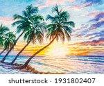 Seascape Sunset. Ocean Beach...